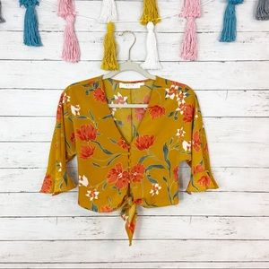 ASTR The Label Floral Tie Front Crop Top Small